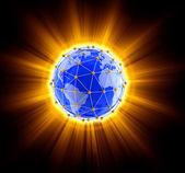 Network on globe — Stock Photo