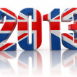 2013 and UK flag — Stock Photo