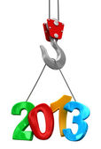 Numbers 2013 on crane hook — Stock Photo