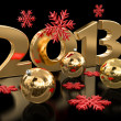 Gold 2013 and Christmas balls — Stock Photo