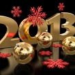 Stock Photo: Gold 2013 and Christmas balls