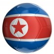 North Korean flag painted, projected onto a football — Stock Photo #32531017