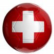Soccer ball with Swiss flag — Stock Photo #32531035