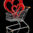 Shopping Cart and hearts — Stock Photo