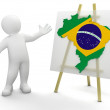 Man and Brazilian map — Stock Photo