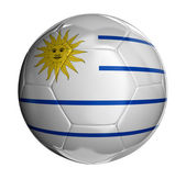 Soccer ball with Uruguayan flag — Stock Photo