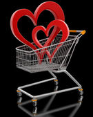 Shopping Cart and hearts — Stock Photo