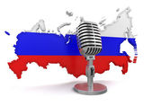 Microphone and Russia — Stockfoto