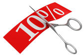 Scissors and 10 percent — Stock Photo
