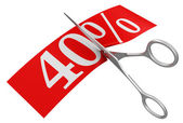 Scissors and 40 percent — Stock Photo