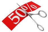 Tijeras y 50 por ciento — Foto de Stock