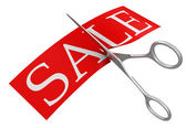 Scissors and Sale — Stock Photo