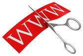 Www a nůžky — Stock fotografie