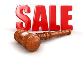 Wooden Mallet and Sale — Stock Photo