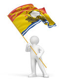 Man and Flag of New Brunswick — Stock Photo
