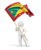 Man and Flag of Grenada — Stock Photo