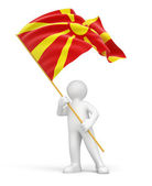 Man and Flag of the Republic of Macedonia — Stock Photo