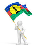 Flag of new caledonia and man — Stock Photo