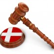 Wooden Mallet and Danish flag — Stock Photo #34132305