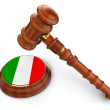 Wooden Mallet and Italian flag — Stock Photo