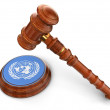 Wooden Mallet and UN flag — Stock Photo