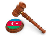 Wooden Mallet and Azerbaijan flag — Stock Photo