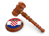 Wooden Mallet and croatia flag — Stock Photo