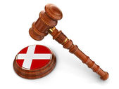 Wooden Mallet and Danish flag — Stock Photo