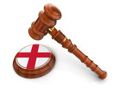 Wooden Mallet and england flag — Stock Photo
