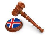 Wooden Mallet and iceland flag — Stock Photo
