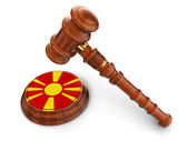 Wooden Mallet and macedonian flag — Stock Photo