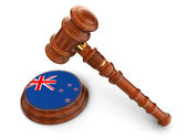 Wooden Mallet and New Zealand flag — Stock Photo