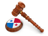 Wooden Mallet and Panama flag — Stock Photo