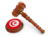 Wooden Mallet and Tunisia flag — Stock Photo