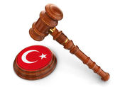 Wooden Mallet and Turkey flag — Stock Photo