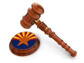 Wooden Mallet with Arizona Flag — Stock Photo