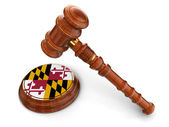 Wooden Mallet with Flag of the state of Maryland — Stock Photo