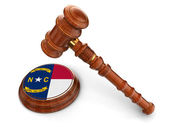 Wooden Mallet with North Carolina Flag — Stock Photo