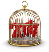 Gold Cage with 2014 — Stock Photo