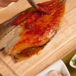 Cooking mackerel — Stock Photo