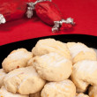 Polvorones on red tablecloth — Stock Photo