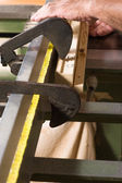 Carpenter hand — Стоковое фото