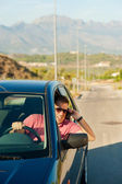 Phoning while driving — Stock Photo