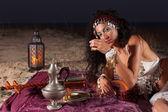 Drinking Moroccan tea — Stock Photo