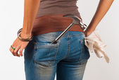 Tool in woman��s pocket — Foto de Stock