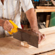 Carpenter with hand saw — Stock Photo