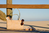 Handbag on the beach — Stock Photo
