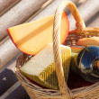 Picnic basket closeup — Stock Photo