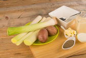 Ingredients for a leek soup — Stock Photo