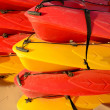 Piled canoes — Stock Photo